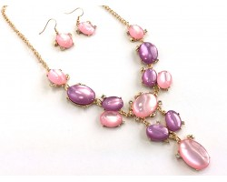 Pink Purple Oval Stone with Crystal Gold Plate Necklace Set