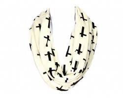 Off White with Black Cross Design Infinity Scarf