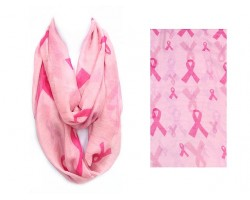 Pink Cancer Ribbon Infinity Scarf