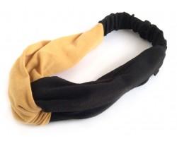 Black Gold Cloth Turban Style Headband