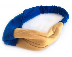 Blue Gold Cloth Turban Style Headband