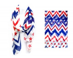 Red White Blue Stars Chevron Oblong Thin Scarf