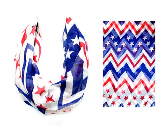 Red White Blue Stars Chevron Infinity Thin Scarf