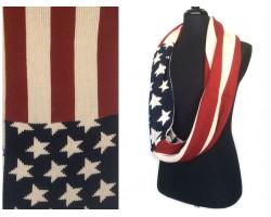 USA Flag Infinity Crochet Scarf