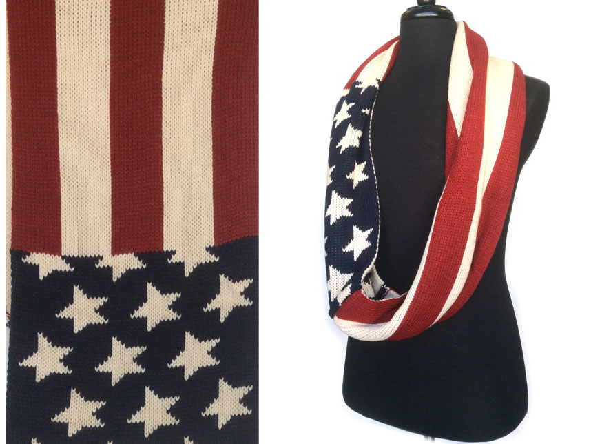 Usa Flag Infinity Crochet Scarf Ma27899usa