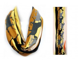 Pink Brown Gray Running Horses Infinity Scarf