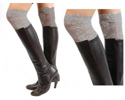 Gray Lace Boot Topper