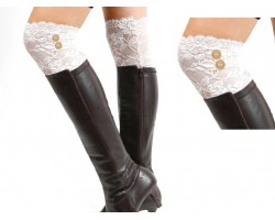 White Lace Button Boot Topper
