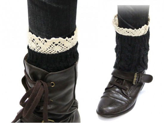 Black Knit Boot Topper Crochet Lace Trim
