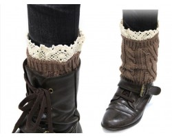 Brown Knit Boot Topper Crochet Lace Trim