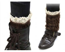 Dark Brown Knit Boot Topper Crochet Lace Trim