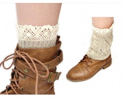 Khaki Knit Boot Topper Crochet Lace Trim