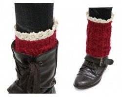 Maroon Knit Boot Topper Crochet Lace Trim