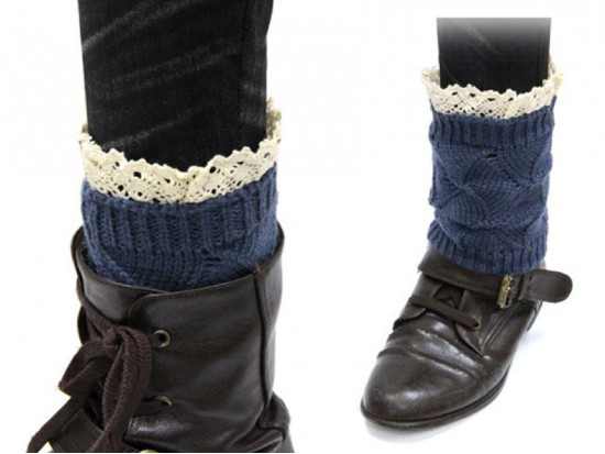 Navy Blue Knit Boot Topper Crochet Lace Trim