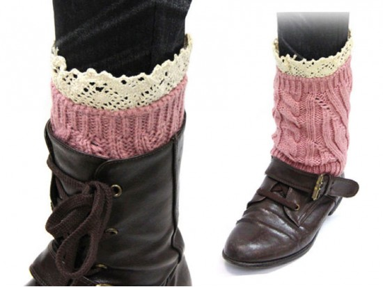 Pink Knit Boot Topper Crochet Lace Trim