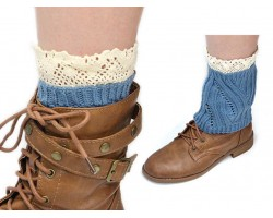 Turquoise Knit Boot Topper Crochet Lace Trim