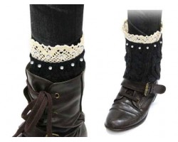 Black Knit Boot Topper Crystal Lace Trim