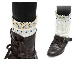 Blue White Knit Boot Topper Crystal Lace Trim