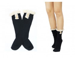 Black Solid Knit Button Laced Boot Socks 8""
