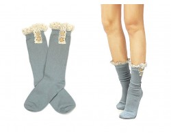 Gray Solid Knit Button Laced Boot Socks 8""