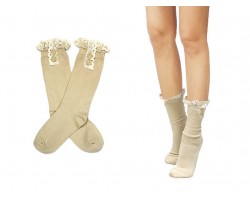Khaki Solid Knit Button Laced Boot Socks 8""