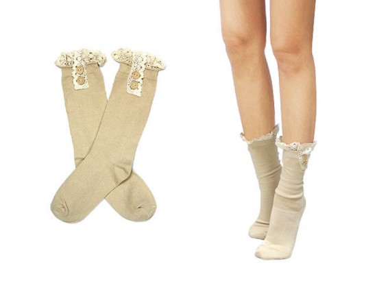 """Khaki Solid Knit Button Laced Boot Socks 8"""""""