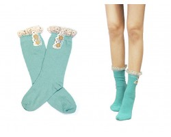 Mint Solid Knit Button Laced Boot Socks 8""