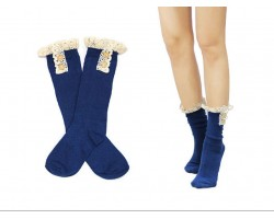 Navy Solid Knit Button Laced Boot Socks 8""
