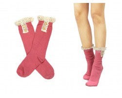 Pink Solid Knit Button Laced Boot Socks 8""