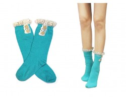 Turquoise Solid Knit Button Laced Boot Socks 8""
