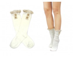 White Solid Knit Button Laced Boot Socks 8""