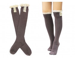 Brown Solid Knit Button Laced Boot Socks 14""