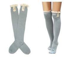 Gray Solid Knit Button Laced Boot Socks 14""