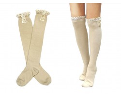 """Khaki Solid Knit Button Laced Boot Socks 14"""""""
