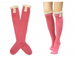 Pink Solid Knit Button Laced Boot Socks 14""