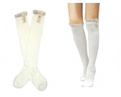 White Solid Knit Button Laced Boot Socks 14""