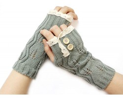 Gray Knit Lace Edge Button Hand Arm Warmer