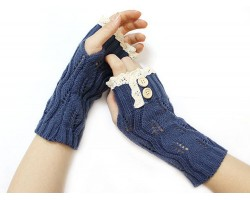 Navy Blue Knit Lace Edge Button Hand Arm Warmer