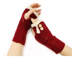 Red Knit Lace Edge Button Hand Arm Warmer