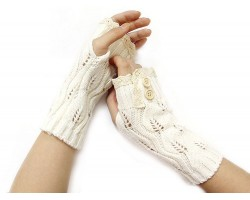 White Knit Lace Edge Button Hand Arm Warmer