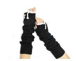 Black Knit Lace Button Long Arm Warmer