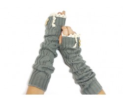 Gray Knit Lace Button Long Arm Warmer