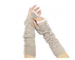 Khaki Knit Lace Button Long Arm Warmer