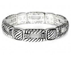 Silver Twisted Swirl Square Stretch Bracelet