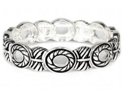 Silver Swirled Circles Stretch Bracelet