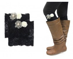 Black Lace Flowers Boot Topper