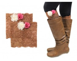 Brown Lace Flowers Boot Topper