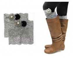Gray Lace Flowers Boot Topper