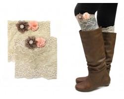 Khaki Lace Flowers Boot Topper