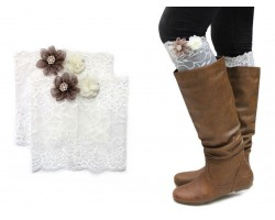 White Lace Flowers Boot Topper